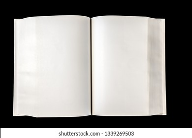 Open blank dictionary, book mockup, isolated on black. Top view