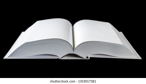 Open blank dictionary, book mockup, isolated on black