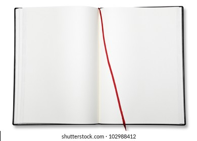 Open blank exercise book  on white with shadow (clipping path)