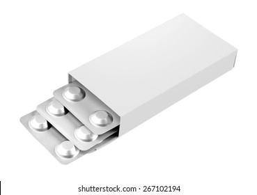 Open blank medicine drug box isolated