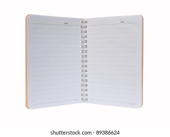 Open blank note book on white.