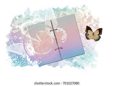 Open blank notebook, fantastic illustration with butterflies and mad clock. Time concept.