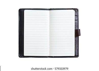 Open blank notebook isolated on white background.