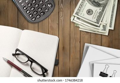 Open blank notepad on office desk
