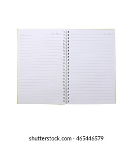 open blank page note book on white