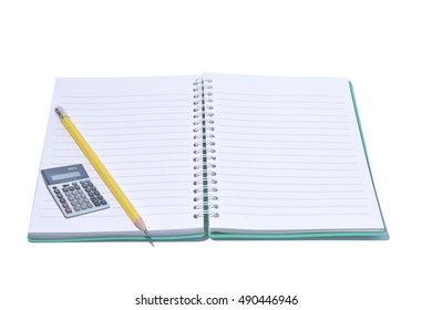 Open Blank Page notebook ridge coil for note and pencil and calculator on white background