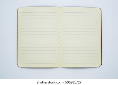 Open Blank Page notebook and white background