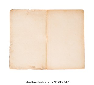 open blank pages of old brochure (isolated on white)