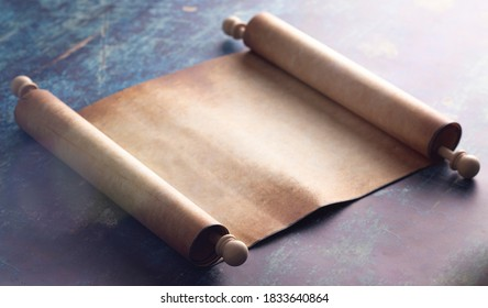 An Open Blank Scroll on a Blue Rustic Wooden Table