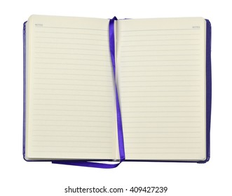 Open blue agenda or planner with pages with lines and blue band in the middle, on white background