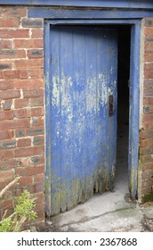 Open blue door