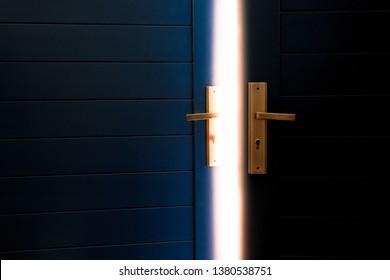 open blue door with sun light