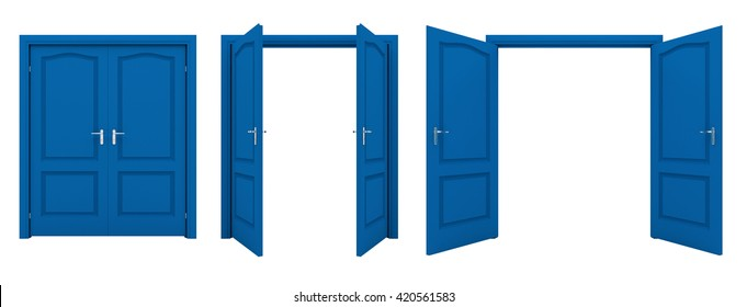 Open blue double door isolated on a white background. 3D illustration.
