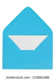 Open blue envelope with white letter inside