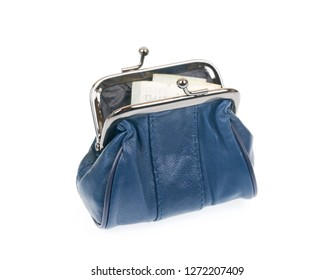 Open blue leather coin purse with euro bill isolated on white background.
