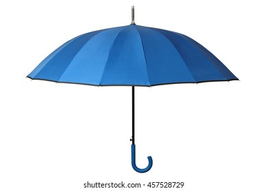Open blue umbrella isolated on white background
