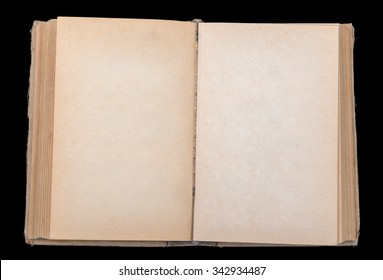 Open book with blank leaves on black background