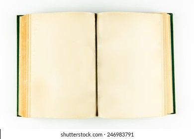 A open book with blank pages from above islolated on white