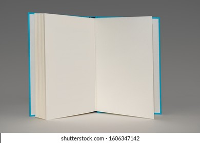 Open book with blank pages standing up and isolated on a grey background