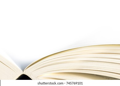 Open book - close up, white background
