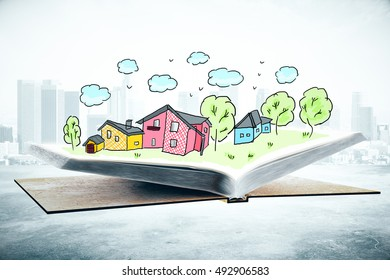 Open book with creative drawn city. 3D Rendering