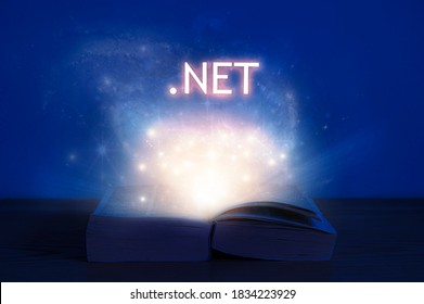 Open book with dot net inscription. Light coming from open book with words .NET