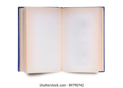Open book with empty pages isolated on white background