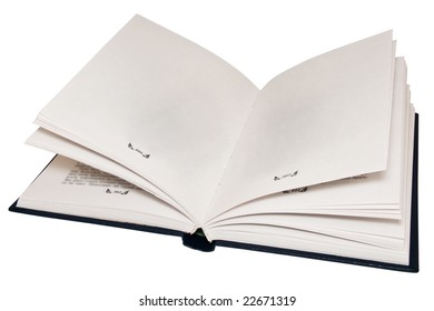 The open book, empty pages.Isolated on a white background.