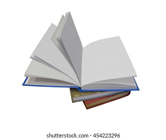 Open book with empty white leaves
