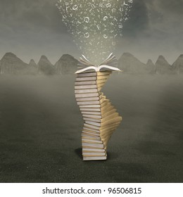 Open book with falling letters into the pages over mountains background