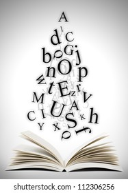 Open book with falling letters over grey background