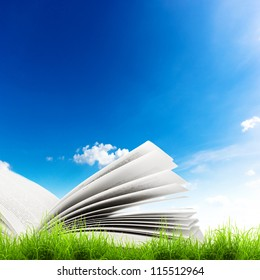 Open book in green grass over blue sky. Magic book