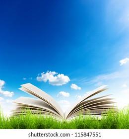 Open book in green grass over blue sky. Magic book background
