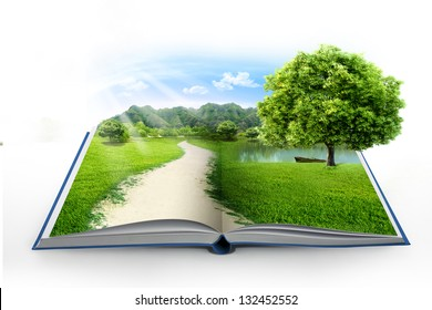 Open book in green grass over blue sky