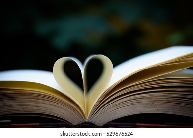 Open book  with heart shape page.