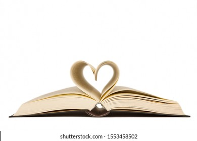 Open book with heart shaped pages. Love for reading. Isolated