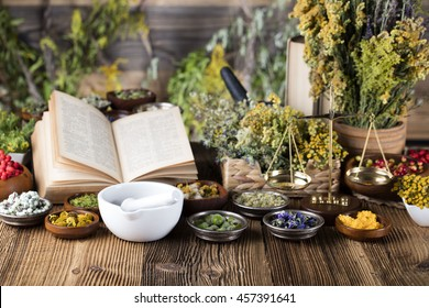 Open book, herbs, berries and flowers with mortar, on wooden table background