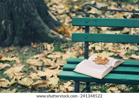 Open book with leaf lying on the bench in autumn park