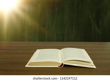 Open book with a light