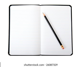 An open book with lines and a black pencil