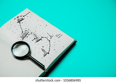 Open book with magnifier and map of travel on purple background