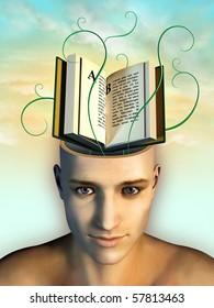 Open book as mind food. Digital illustration.