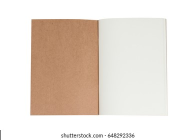 Open book note on white background