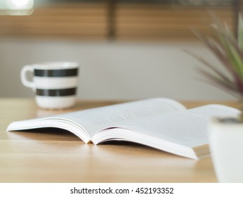 Open book on the desk ( selective focus  )