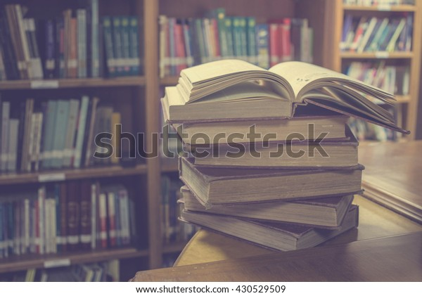 open book on library room,education concept
