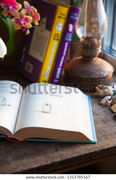 Open Book On Table Cozy Place Stock Photo (Edit Now) 1353785567