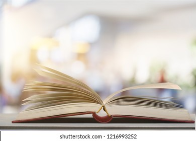 Open book on   table,close up