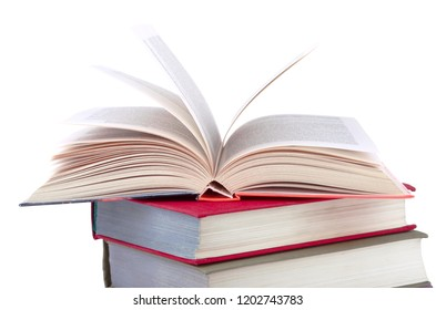 Open book on a white background.