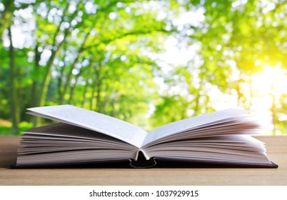 Open book on wooden plank over nature abstract light background.