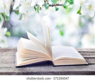 Open book on wooden table outdoors on natural spring or summertime background. Return to spring or summer time. Invitation to study literatures, close up